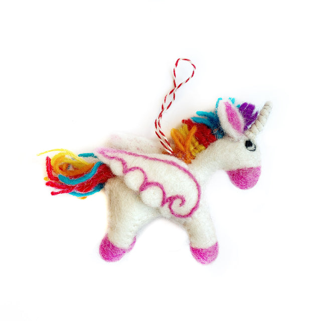 Unicorn Christmas Ornament Felt Wool Handmade Rainbow