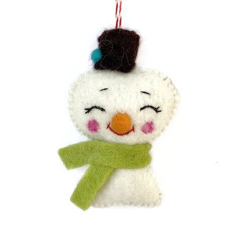 Felted Wool Cheerful Snowman Ornament Fair Trade