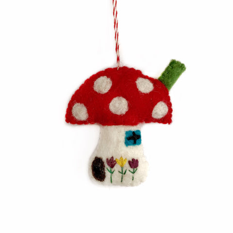 Mushroom House Ornament, Felted Wool