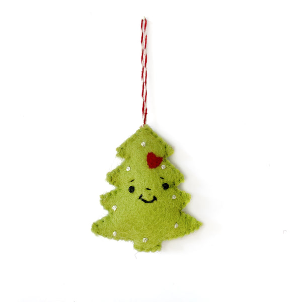 Smiling Christmas Tree Ornament, Felted Wool