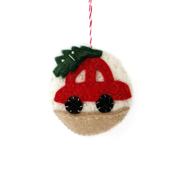 Taking the Tree Home on Car Ornament - Felted Wool