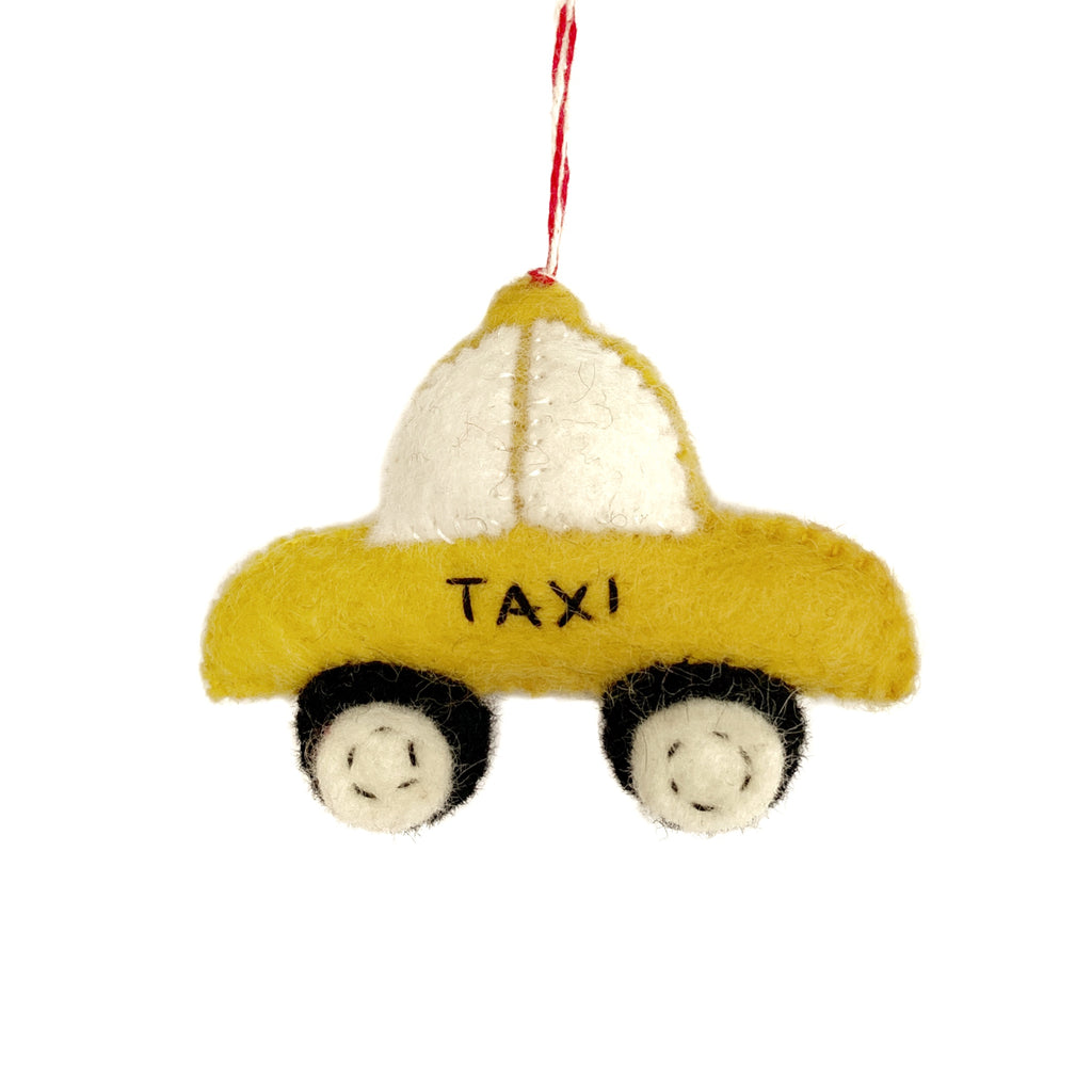 Taxi Cab Ornament - Felted Wool