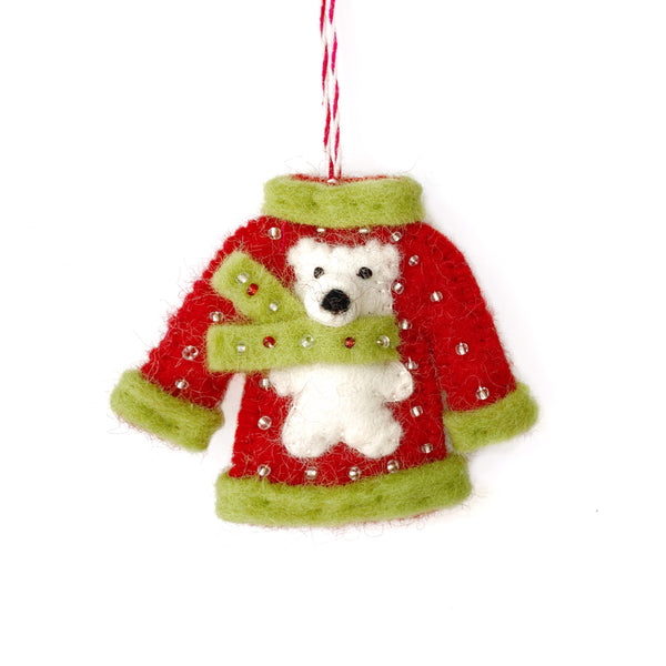 Ugly Christmas Sweater Ornament, Felted Wool