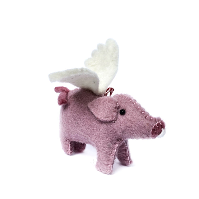 Flying Pig Ornament, Felt Wool