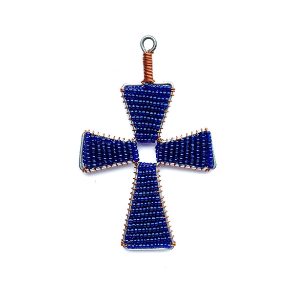 Dark Blue Cross Fair Trade Glass Bead Christmas Ornament Handmade