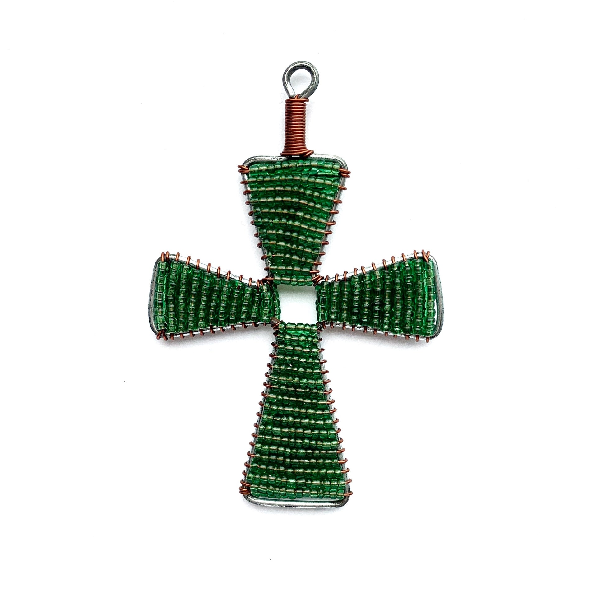 Green Cross Fair Trade Glass Bead Christmas Ornament Handmade