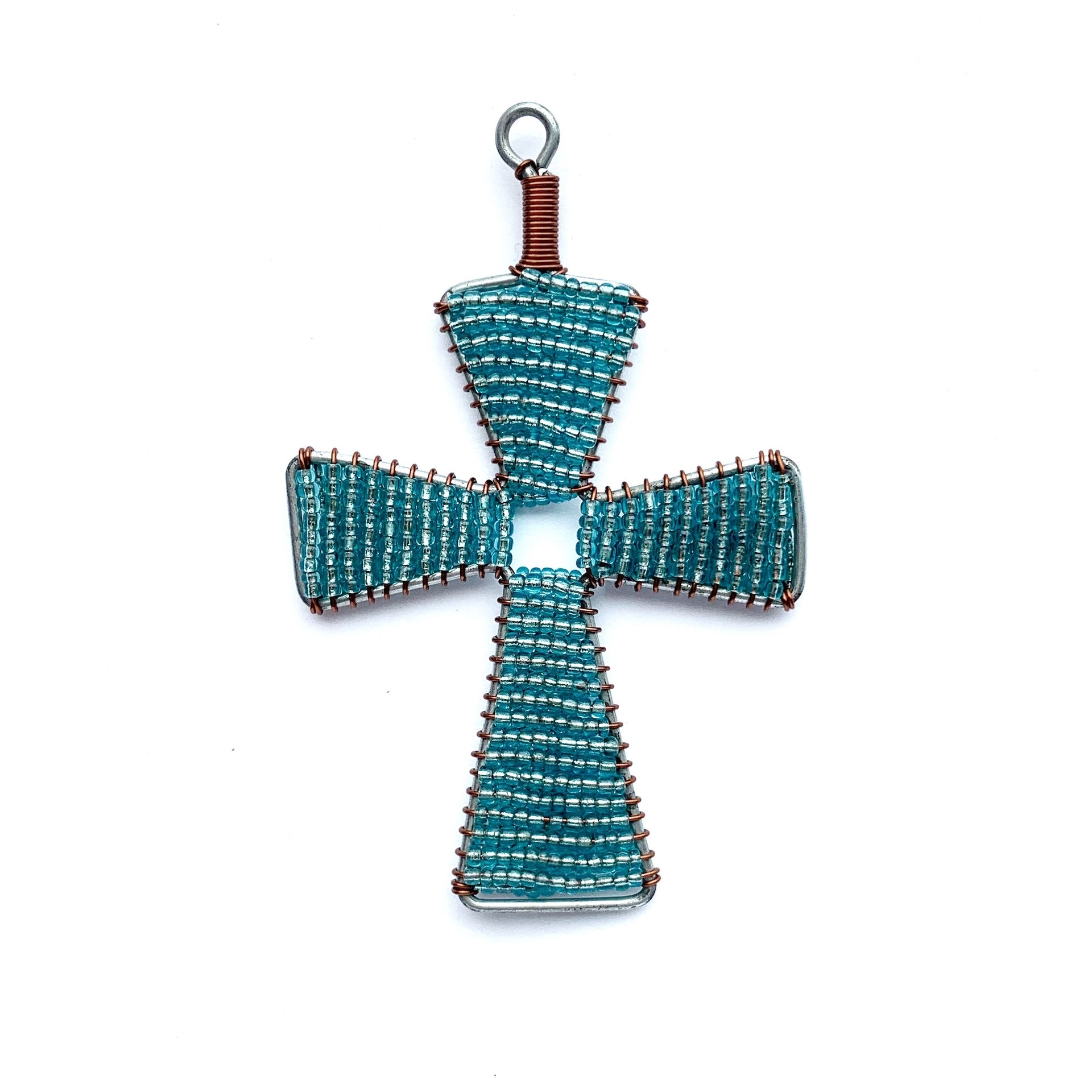 Light Blue Cross Fair Trade Glass Bead Christmas Ornament Handmade