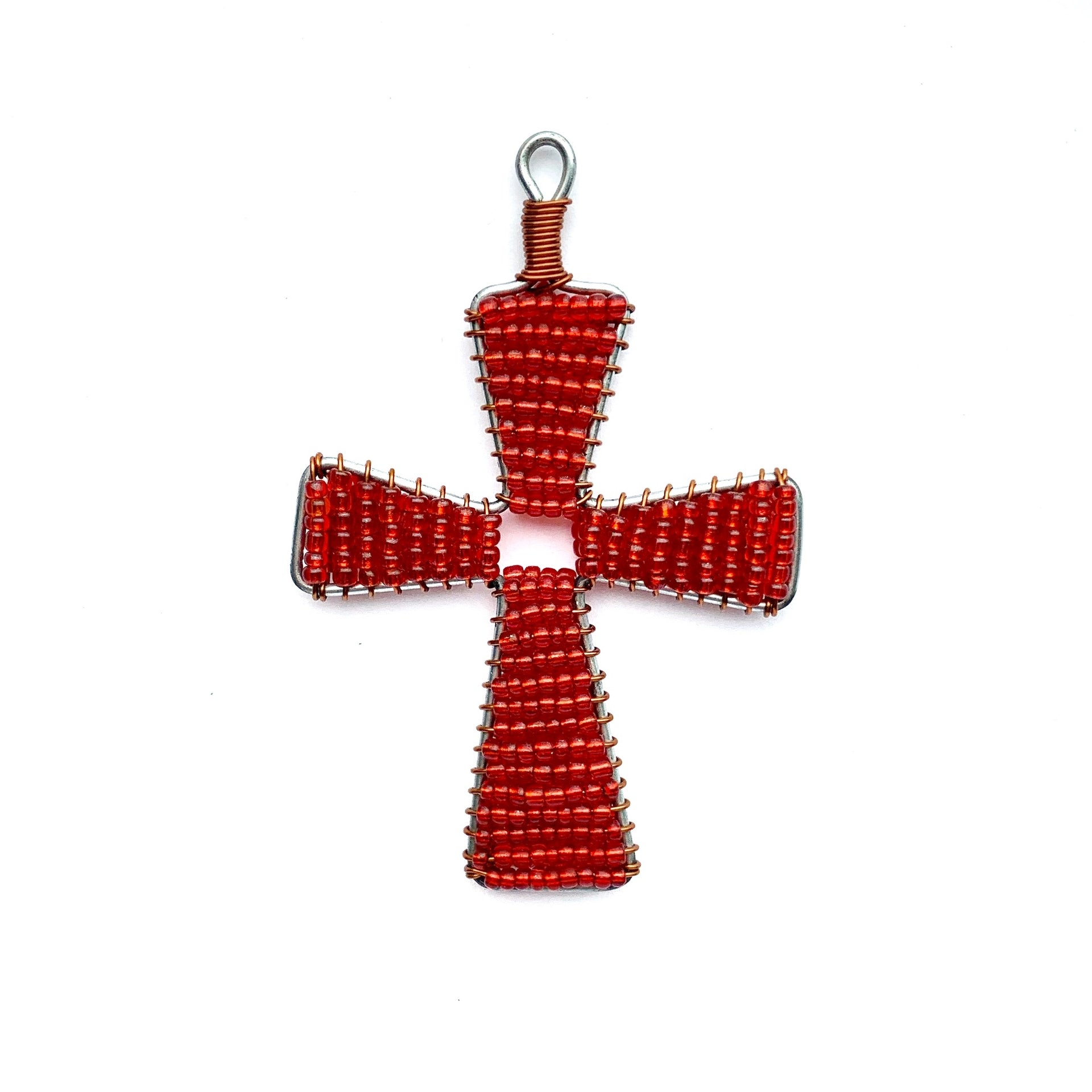 Red Cross Fair Trade Glass Bead Christmas Ornament Handmade