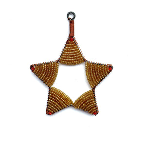 Gold Glass Bead Star Christmas Ornament Fair Trade