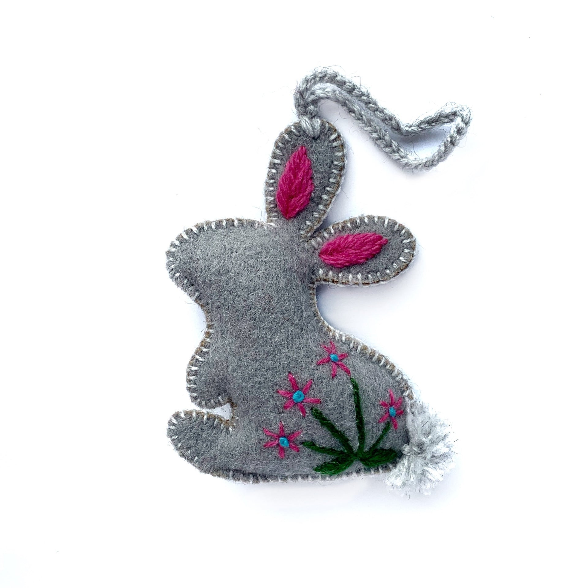 Easter Ornament Trio, Embroidered Wool