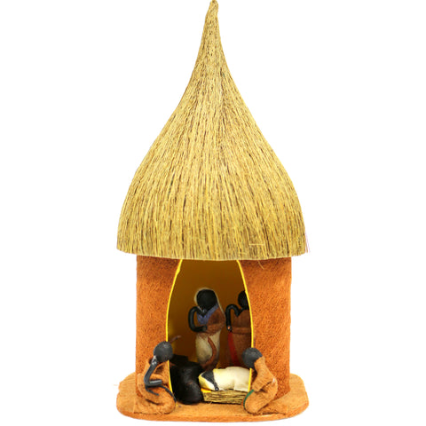 Bark Cloth Nativity Hut