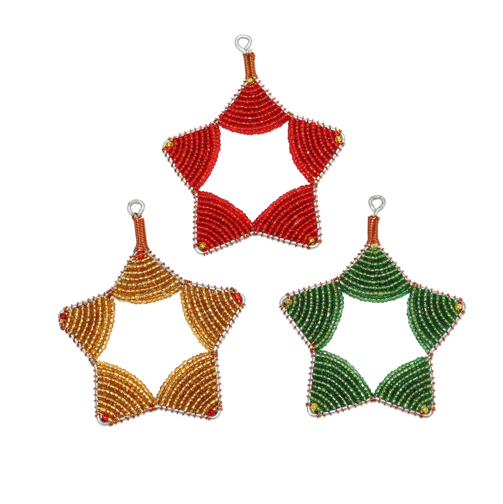 Glass Bead Star Ornament Trio