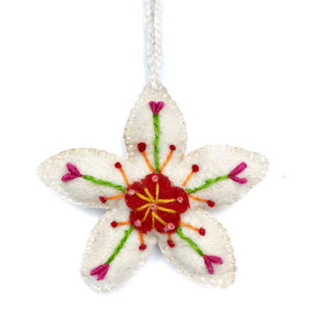 Embroidered Flower Fair Trade Christmas Ornament Peru