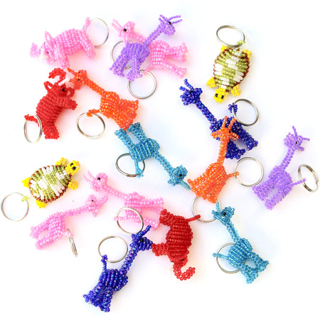 Animal Keychain, Glass Bead