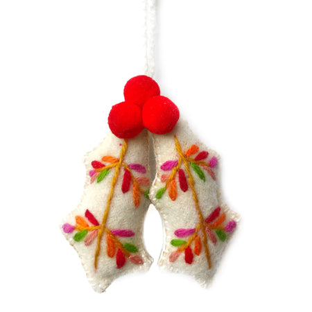 Handmade Holly with Berries Ornament Fair Trade Peru