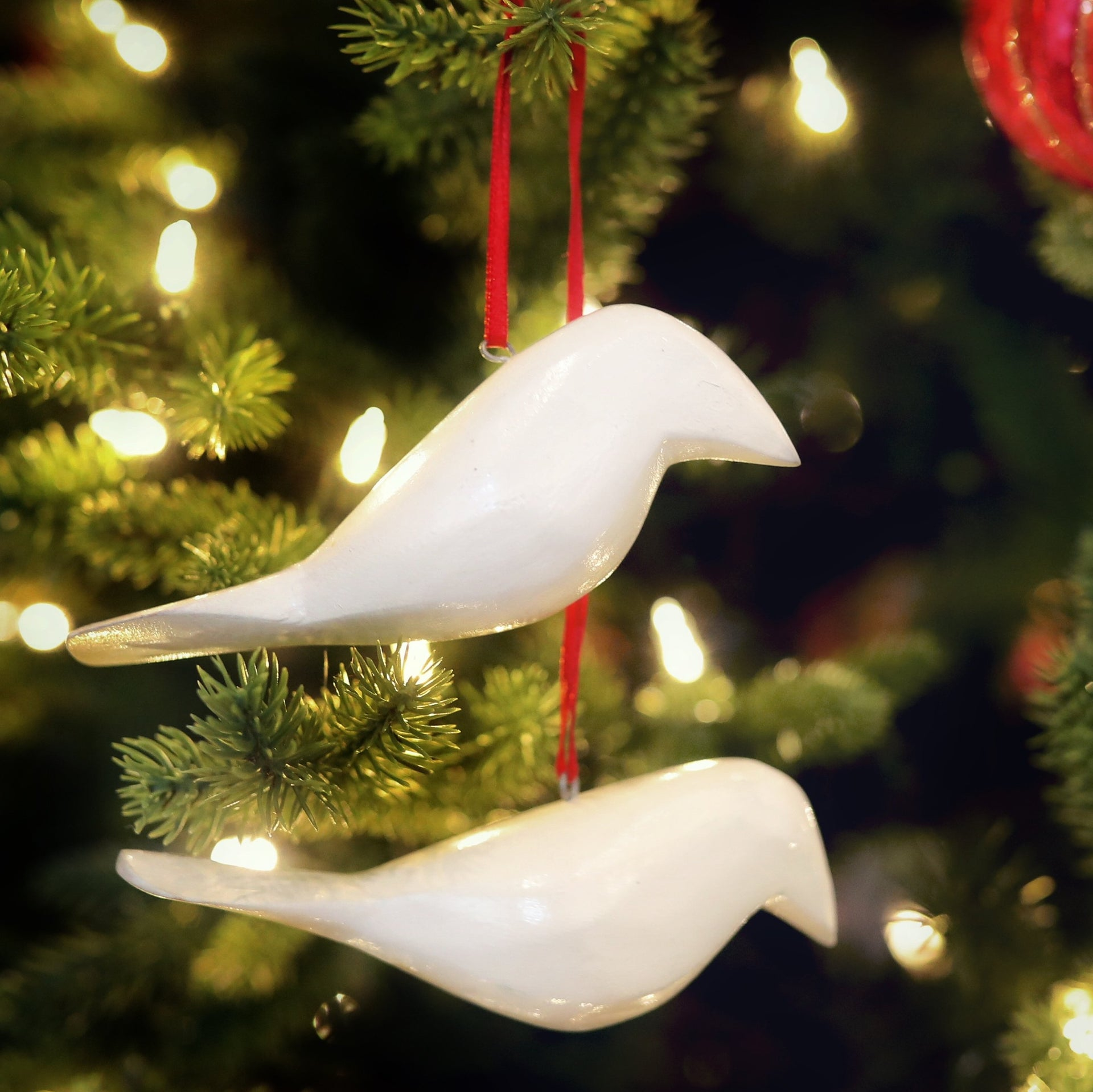 Two Turtle Doves Christmas Bird Ornaments