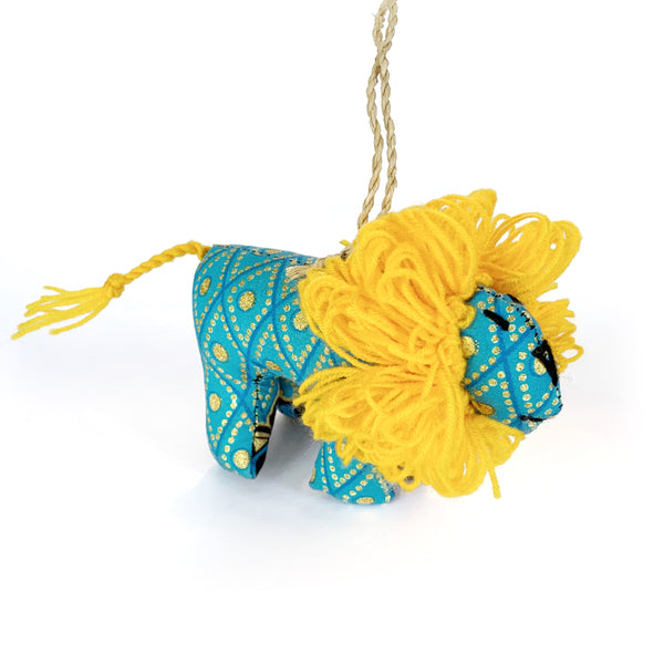 Fair Trade Blue and Yellow Lion Ornament