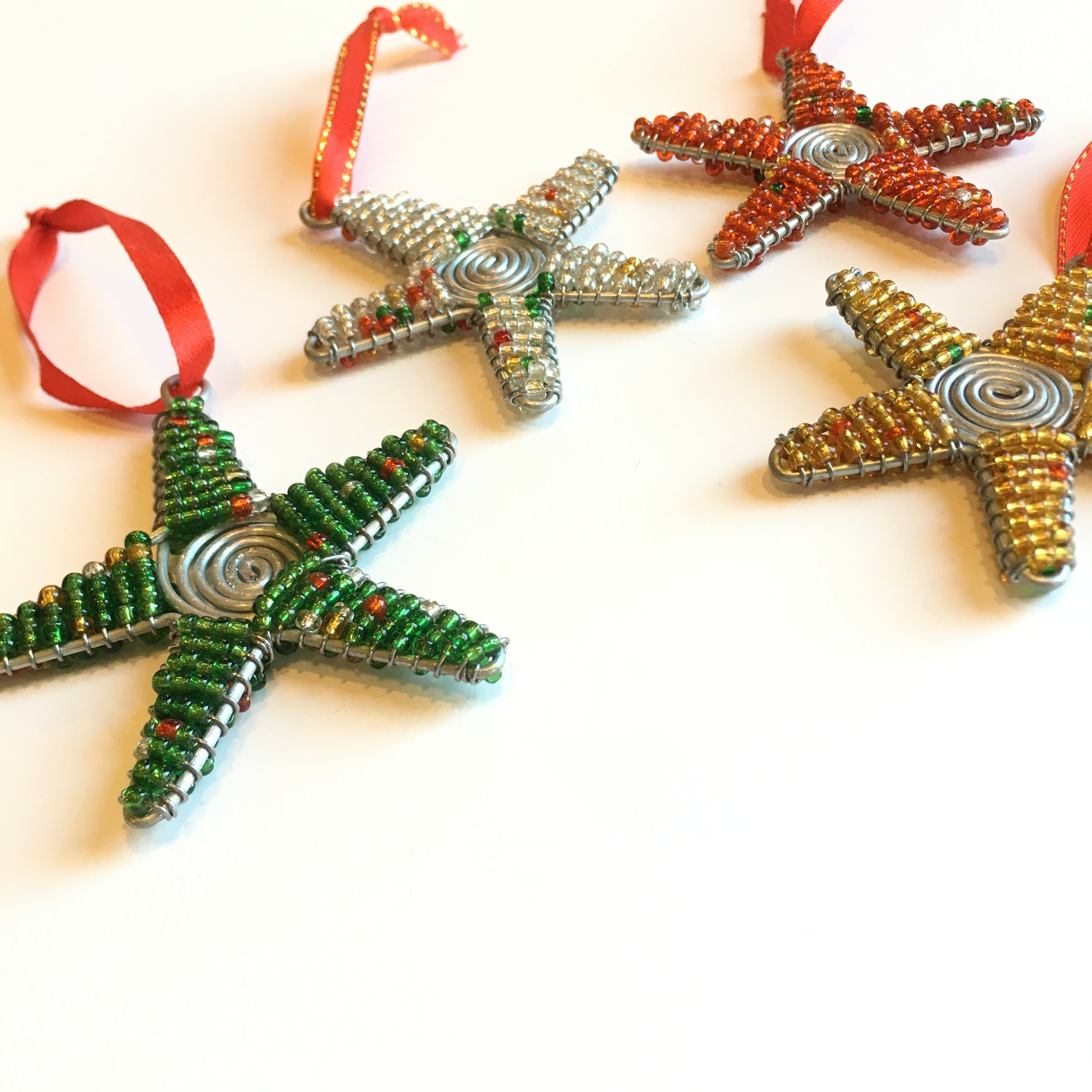 Swirled Glass Bead Star Ornament Collection