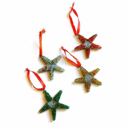 Fair Trade Glass Bead Star Ornament Set - Swirled