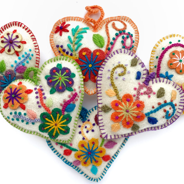 Heart Ornament, Rainbow Variety 6 Pack