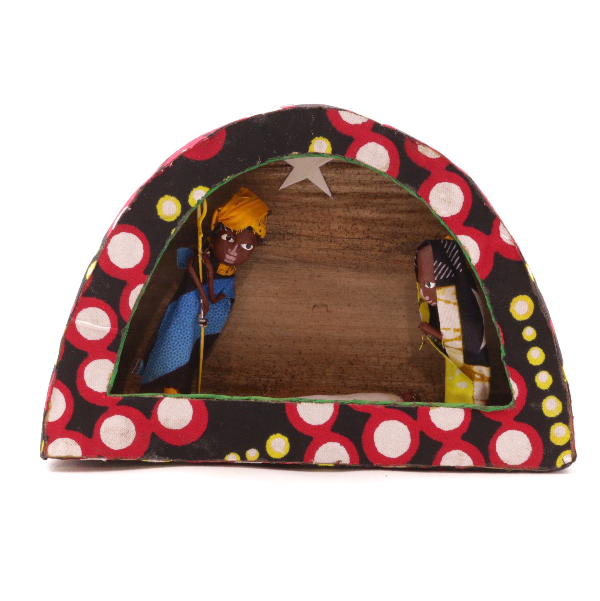 African Figurine Nativity Colorful Arch Kitenge