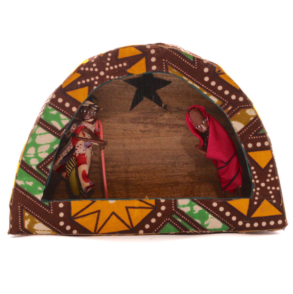 Kitenge Arch Nativity with Holy Family from Africa