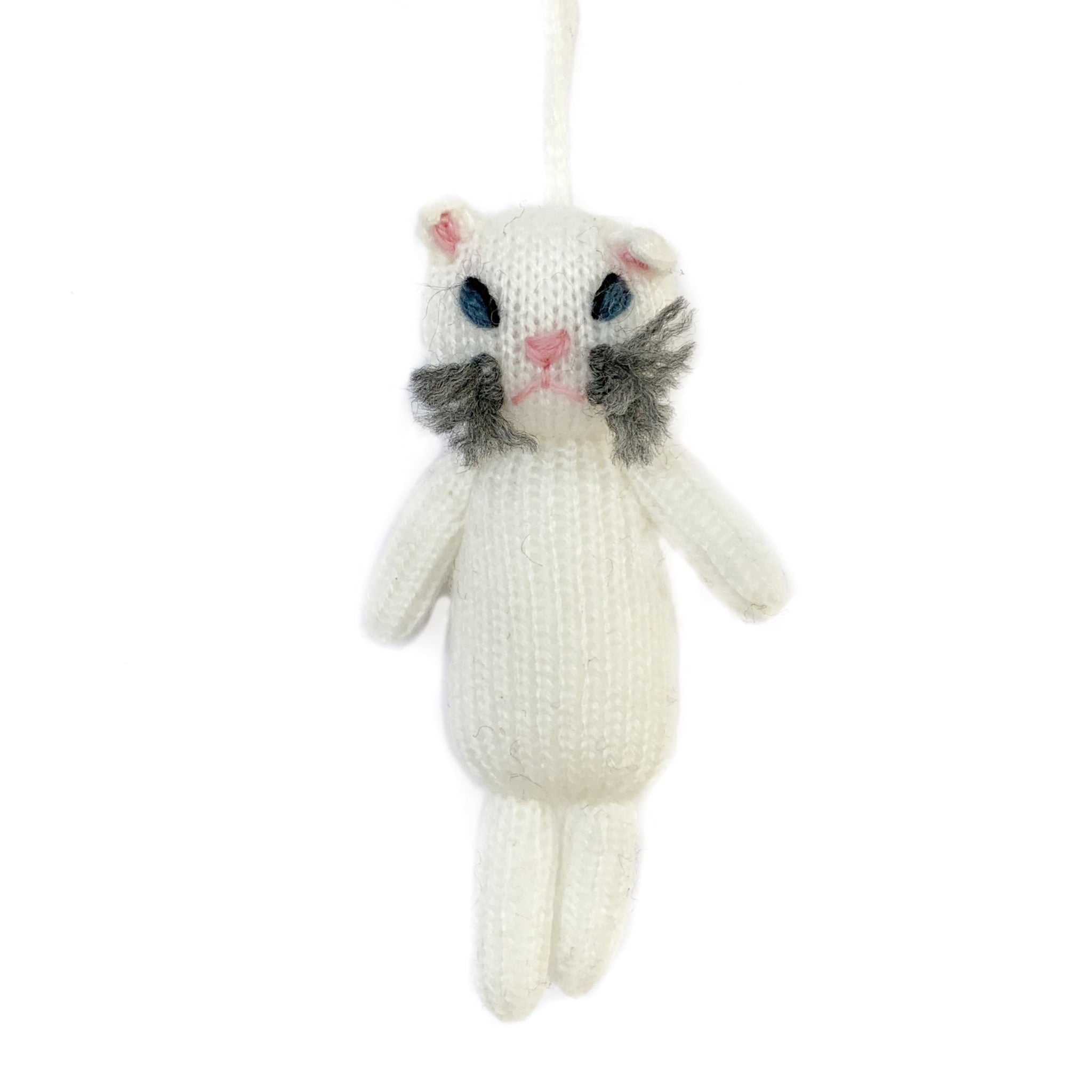 Cat Christmas Ornament Knit Wool Handmade