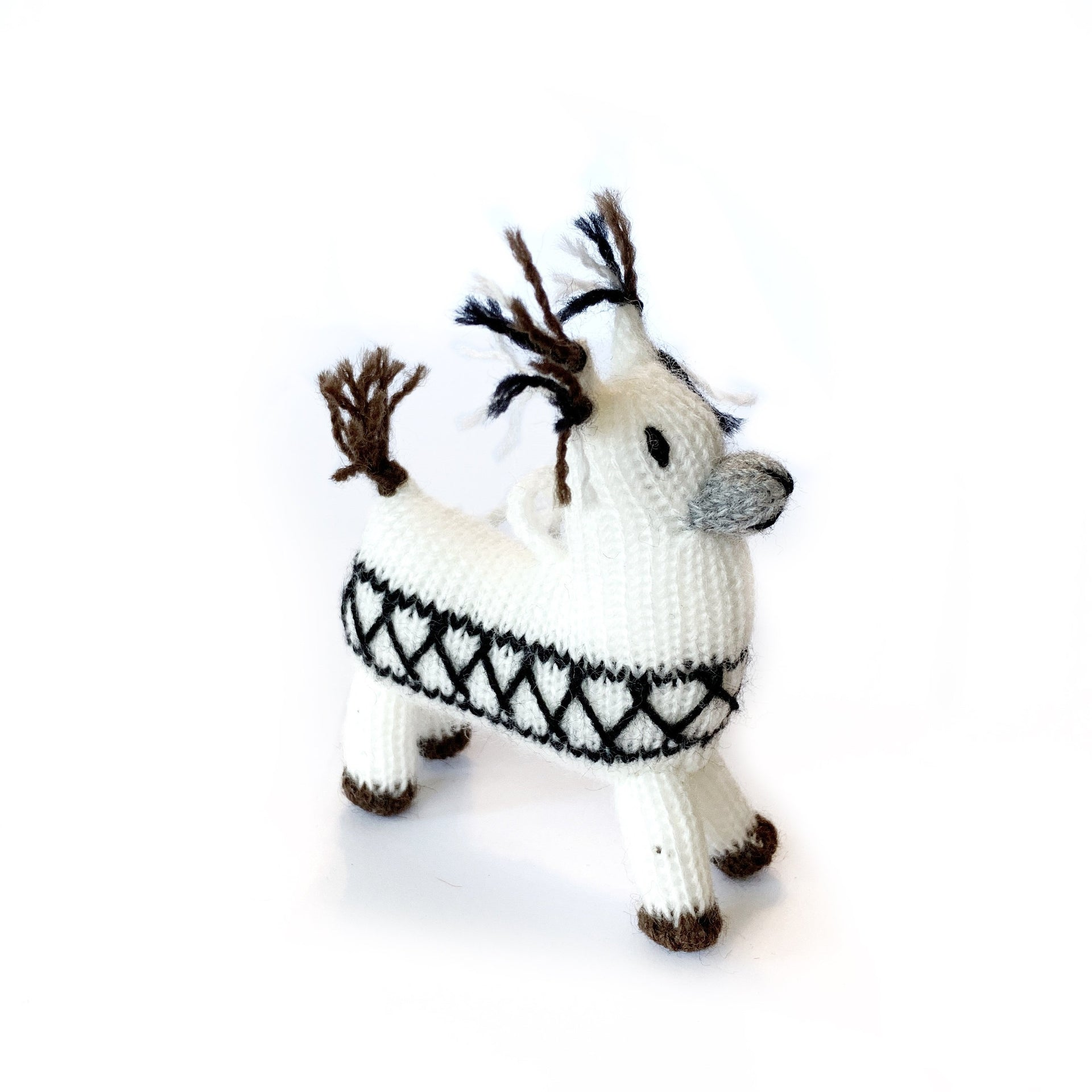 Knit Wool Llama Christmas Ornament Handmade Peru