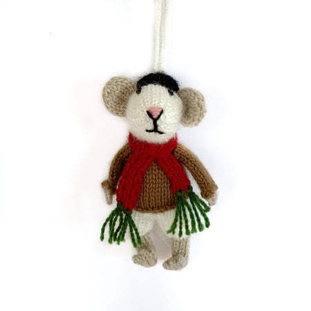Mr. Mouse Christmas Ornament Knit Handmade