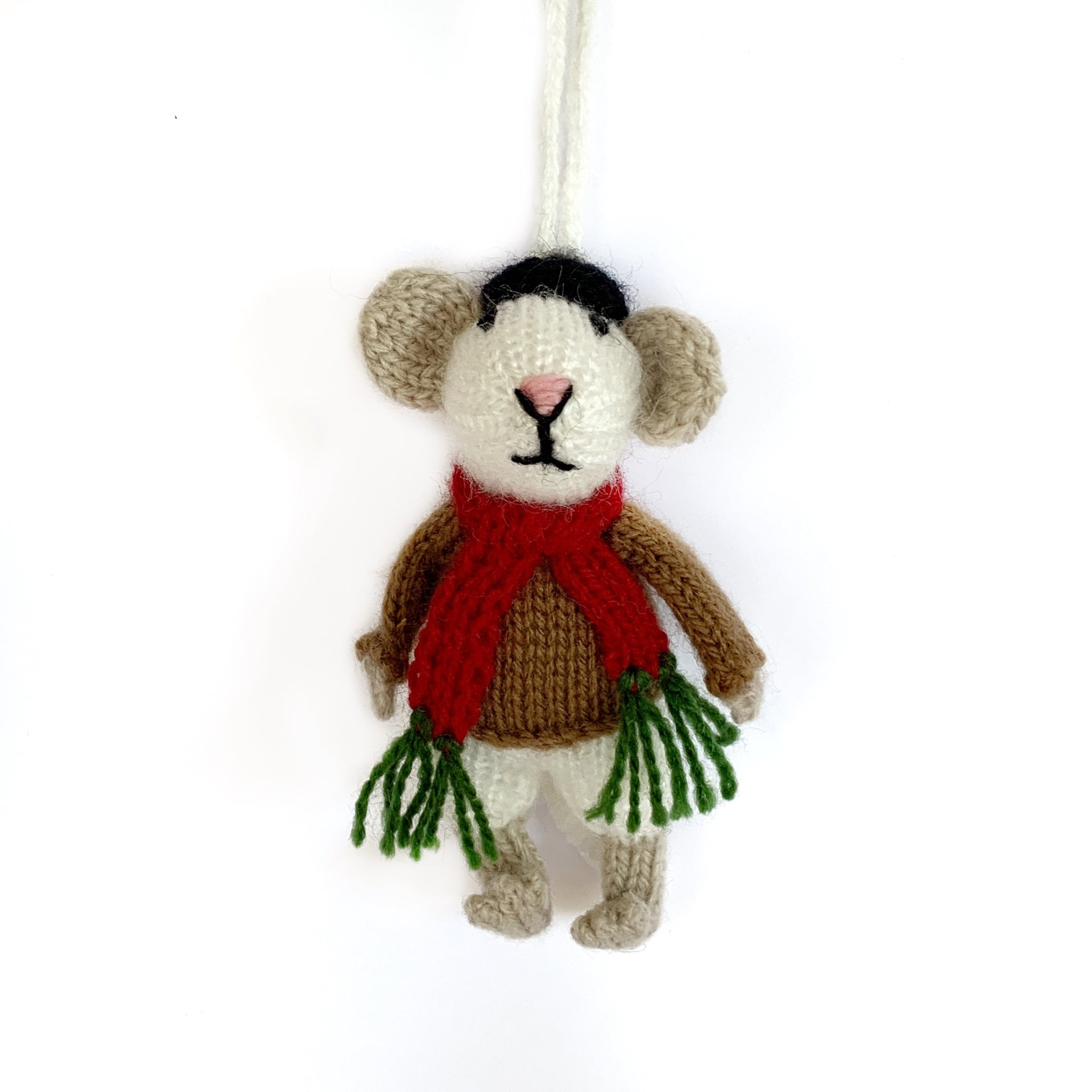 Mr. and Mrs. Mouse Ornaments, Knit Wool