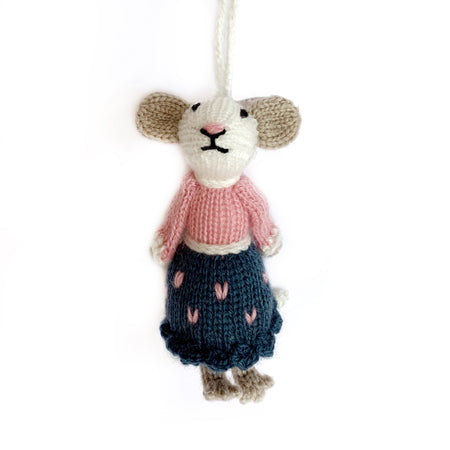 Mrs. Mouse Christmas Ornament Handmade Knit
