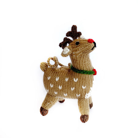 Red Nose Reindeer Christmas Ornament Handmade Knit