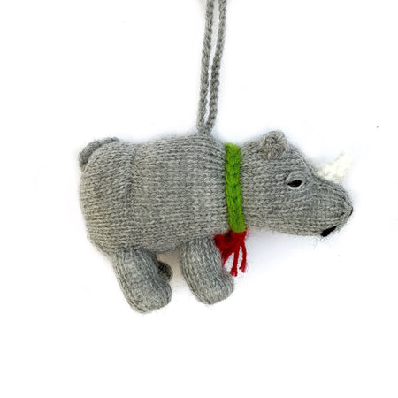Knit Rhino Christmas Ornament Handmade Fair Trade