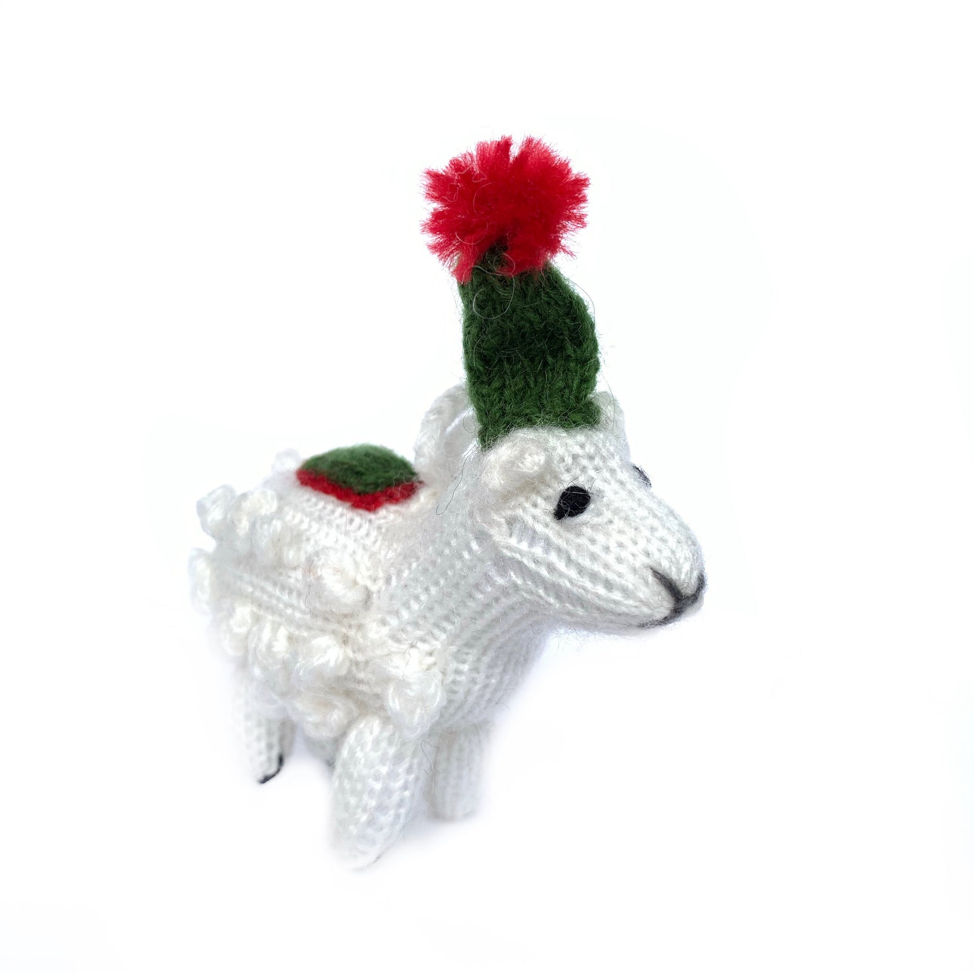 Sheep Christmas Ornament Handmade Knit Wool