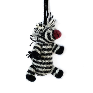 Knit Zebra Christmas Ornament Handmade Fair Trade
