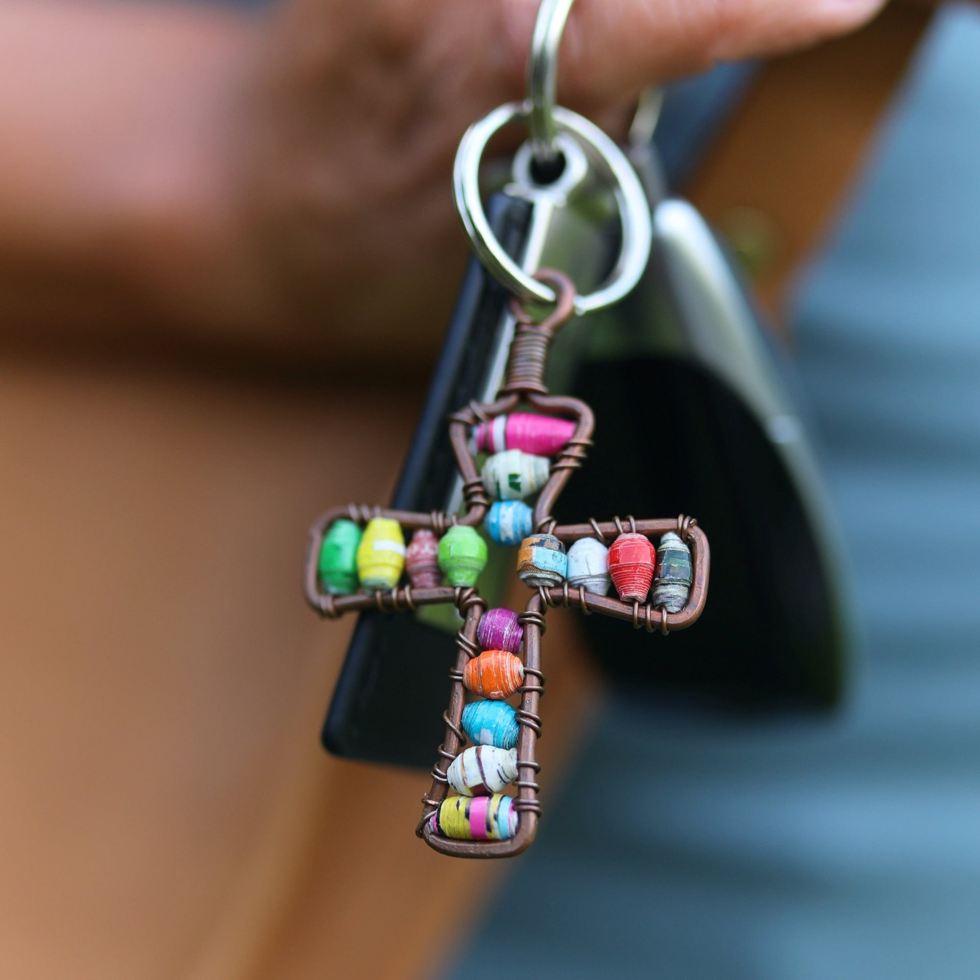 Cross Keychain, Paper Bead