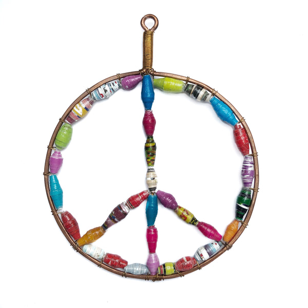 Handmade Paper Bead Peace Sign Christmas Ornament