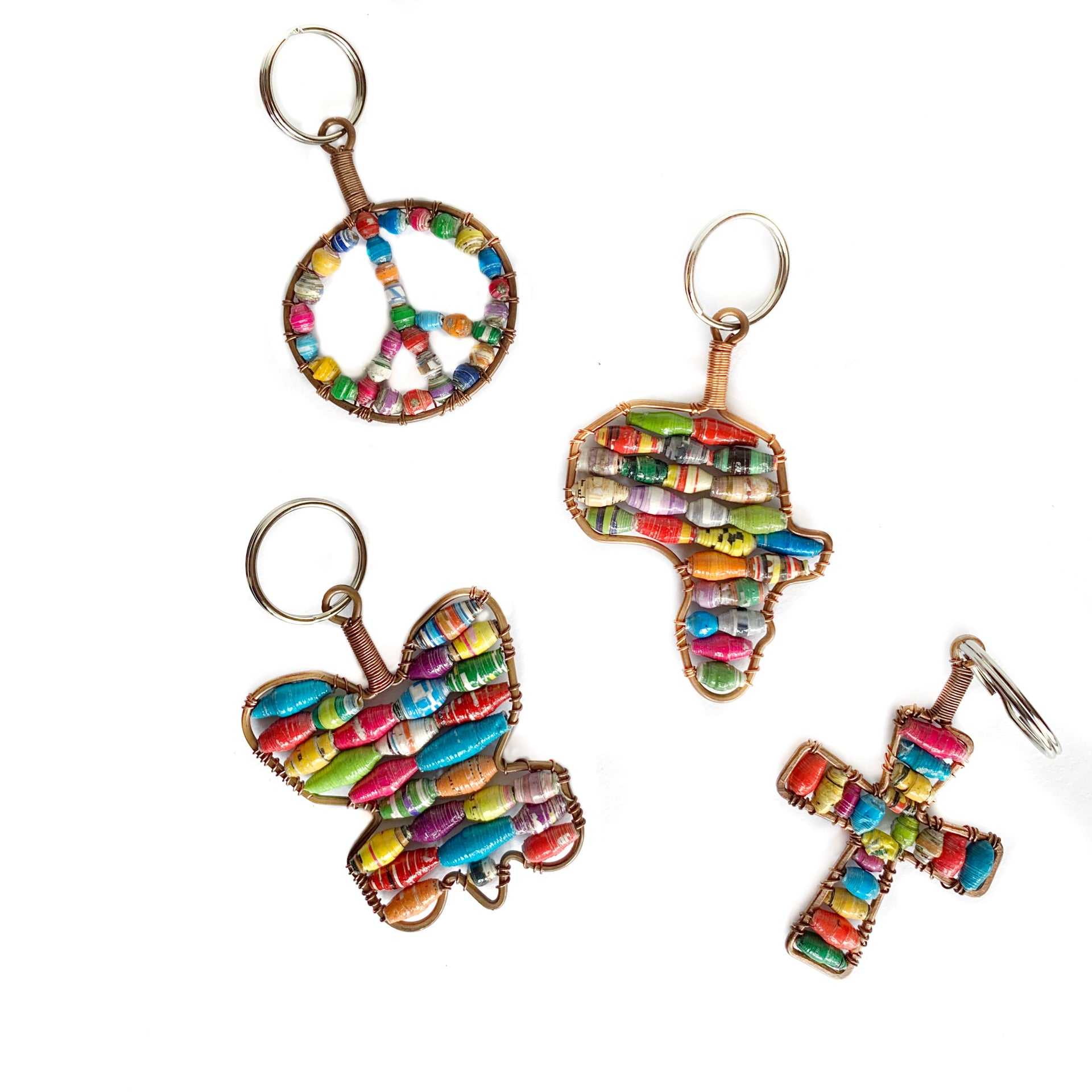 Paper Bead Keychains Fair Trade Africa