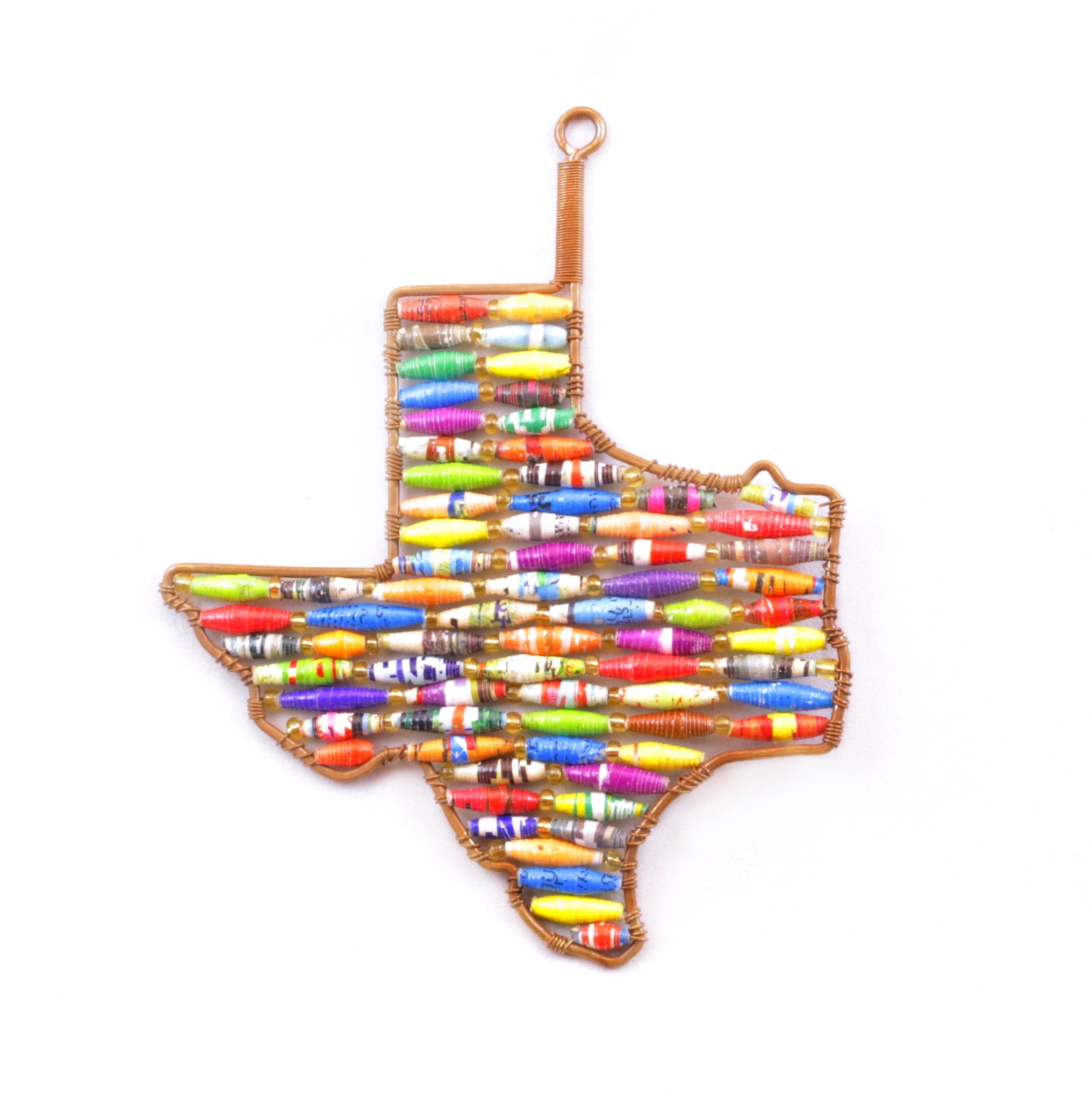 Texas Christmas Ornament Paper Bead Fair Trade