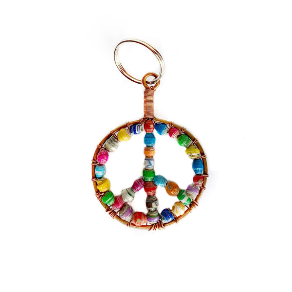 Paper Bead Peace Sign Keychain Fair Trade