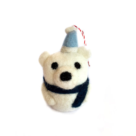 Polar Bear Ornament Fair trade Tufted Wool