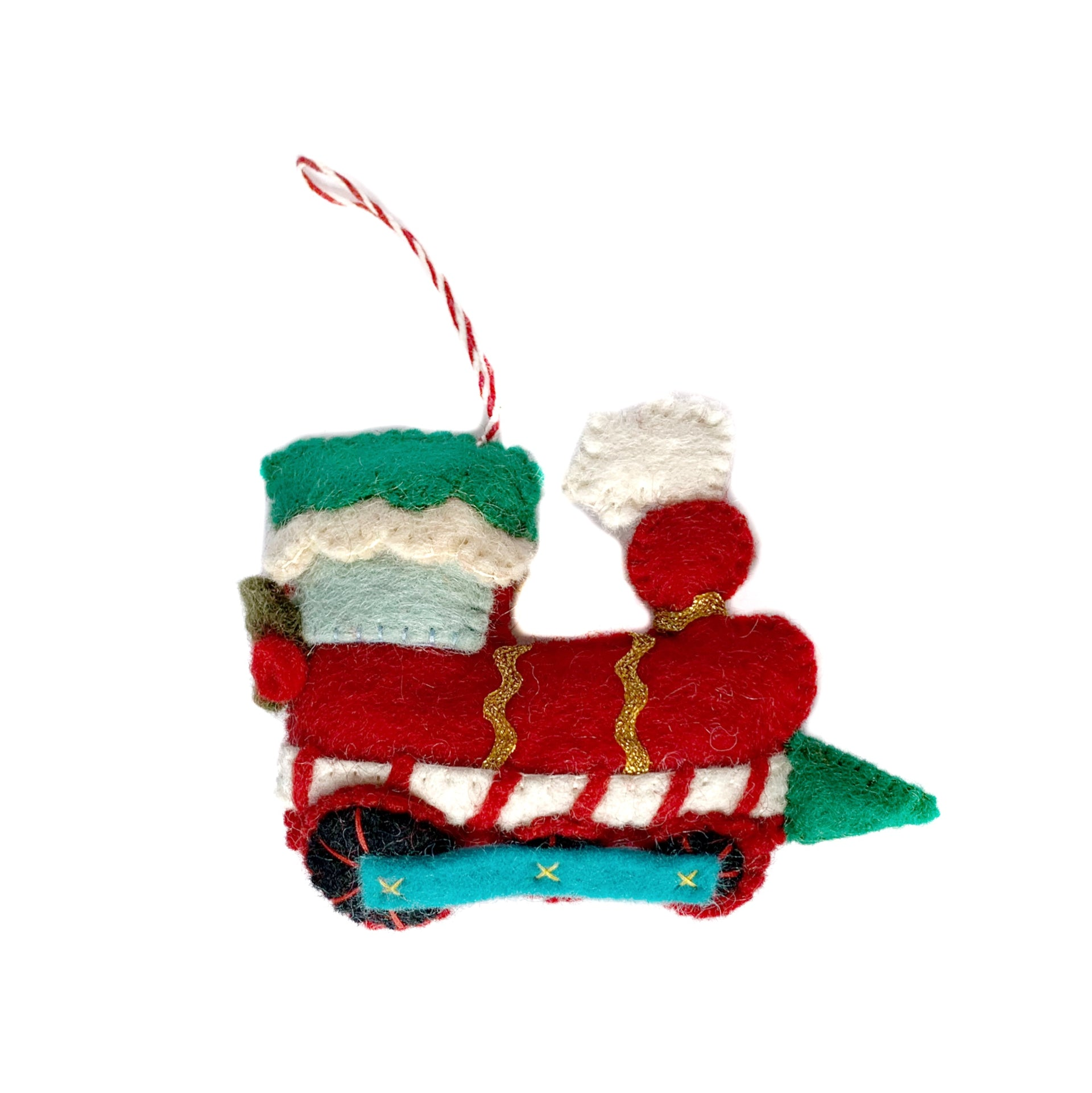 Christmas Train Ornament, Felt Wool