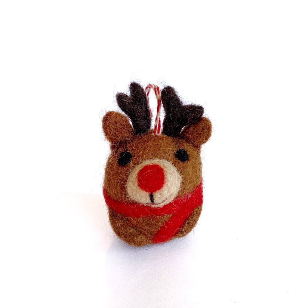 Rudolph Reindeer Ornament Tufted Wool Fair Trade