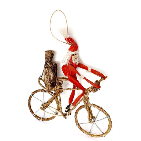 Africa Santa Riding Bicycle Ornament Handmade