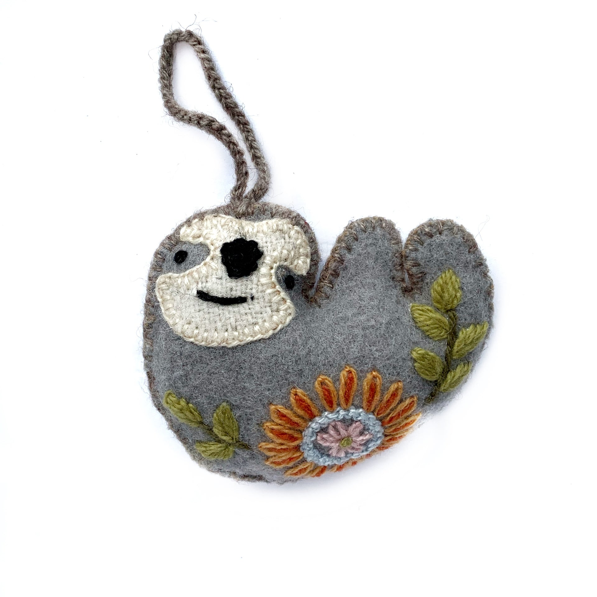 Sloth Ornament, Embroidered Wool