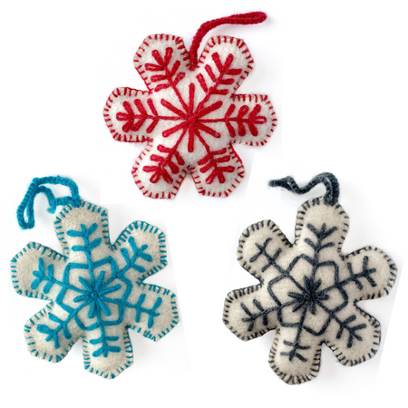 Snowflake Trio Embroidered Wool Ornament, Solid Colors