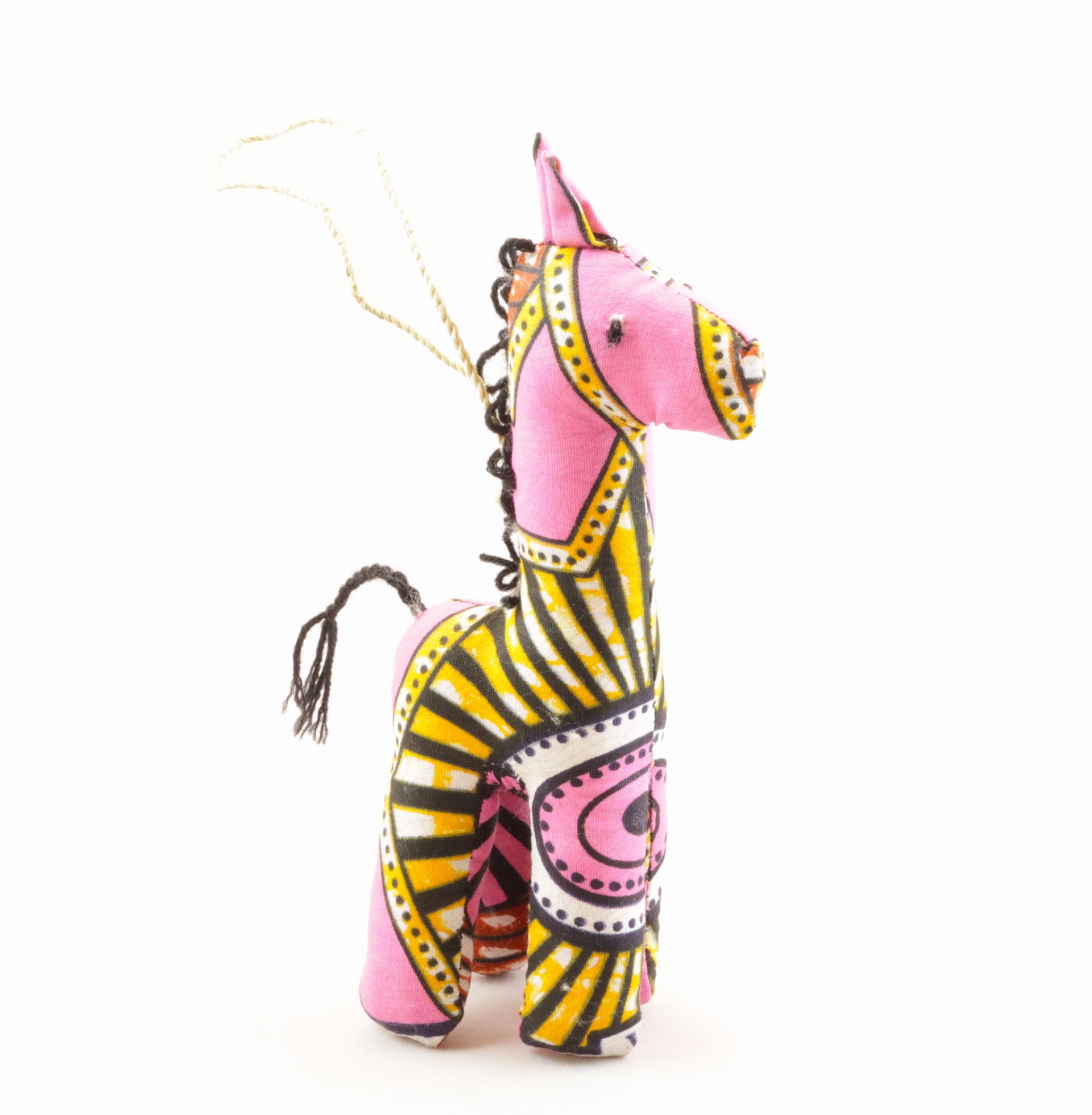 Stuffed Giraffe Ornament - Pink Mix