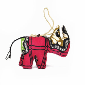 Pink Rhino Christmas Ornament Africa