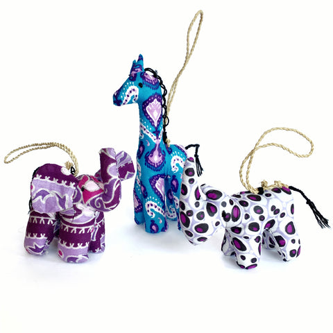 Stuffed Animal Ornament Trio - Purples