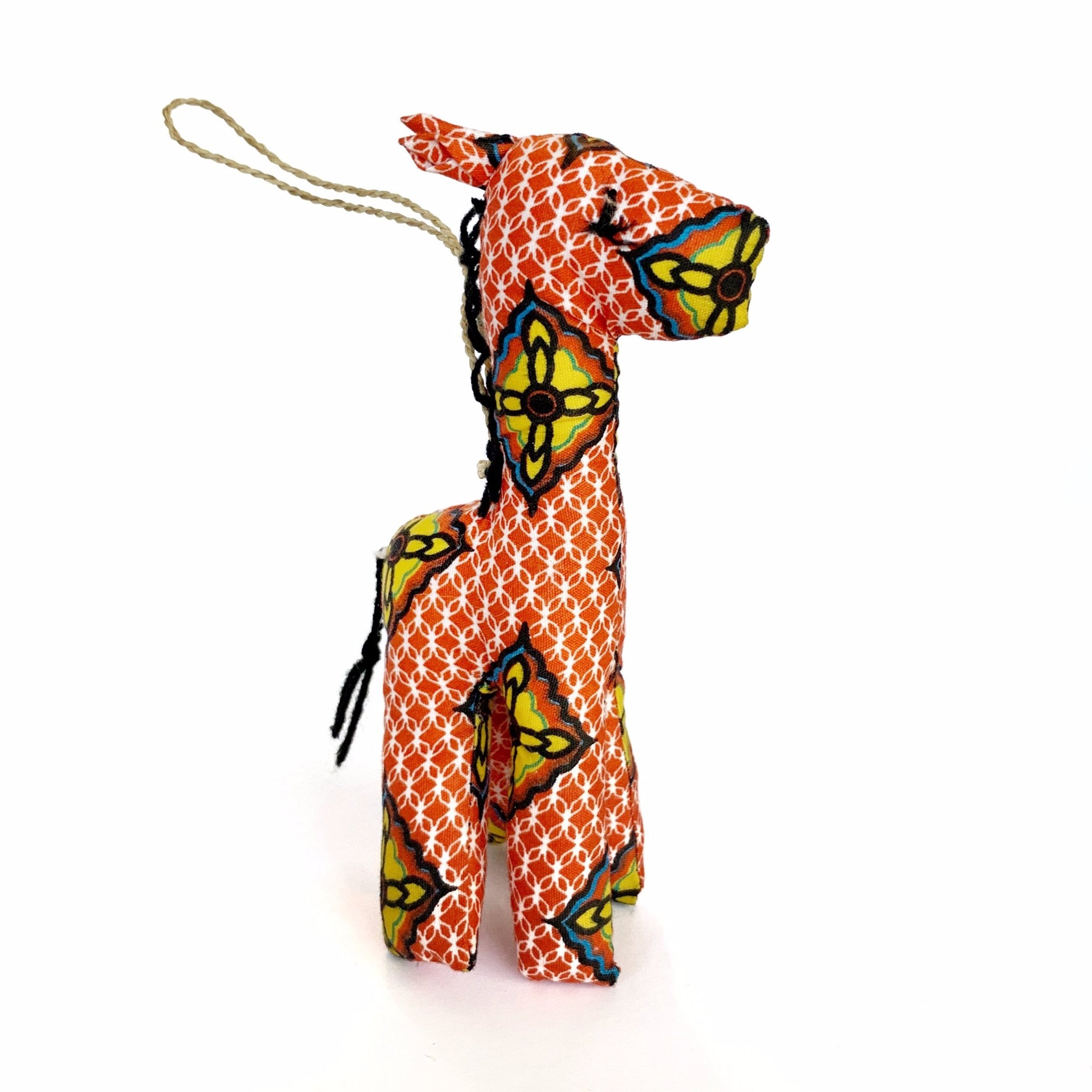 Stuffed Giraffe Ornament Orange Fair Trade